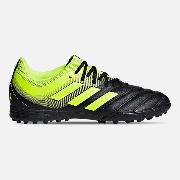Right view of Big Kids' adidas Copa 19.3 Turf Soccer Cleats in Core Black/Solar Yellow/Solar Yellow