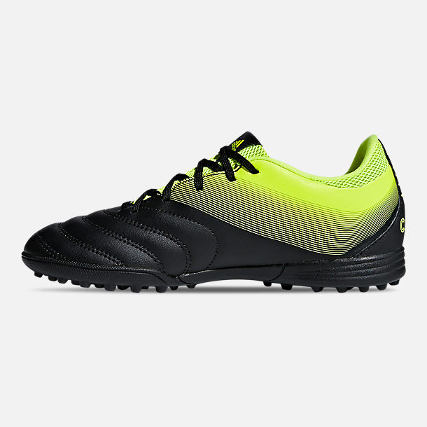 Left view of Big Kids' adidas Copa 19.3 Turf Soccer Cleats in Core Black/Solar Yellow/Solar Yellow