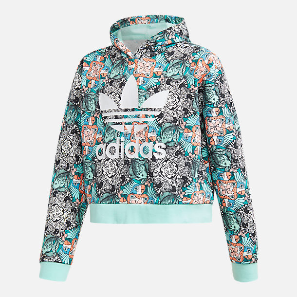Front view of Girls' adidias Originals Zoo Hoodie in Multicolor/Clear Mint/White