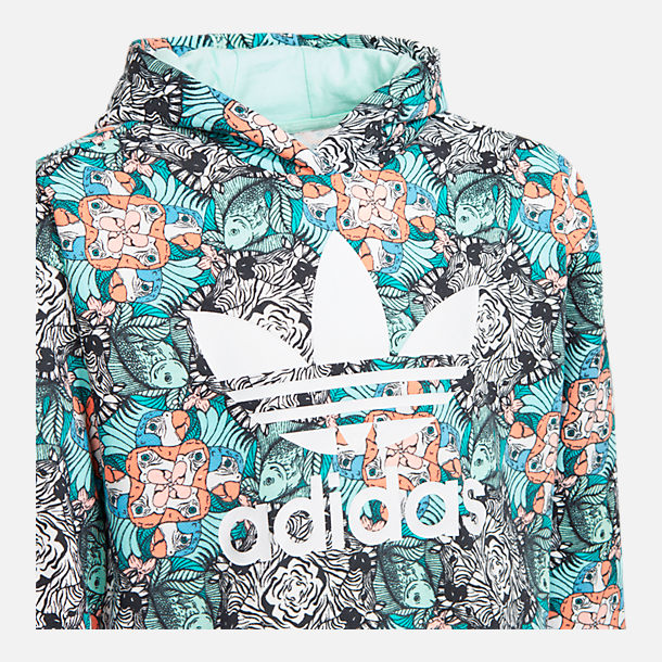 Back view of Girls' adidias Originals Zoo Hoodie in Multicolor/Clear Mint/White