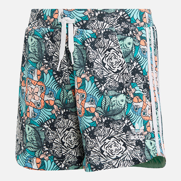 Front view of Girls' adidas Originals Zoo Shorts in Mint/Multi