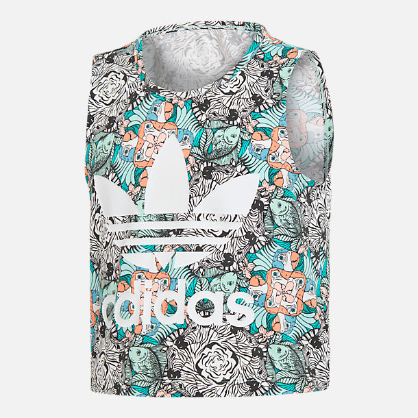 Front view of Girls' adidas Originals Zoo Tank Top in Mint/Multi