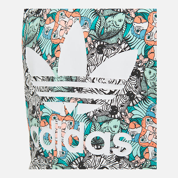 Back view of Girls' adidas Originals Zoo Tank Top in Mint/Multi