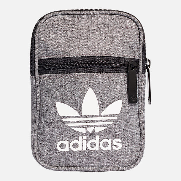 Front view of adidas Originals Casual Festival Crossbody Bag in  Heather Black a0622ad84186e