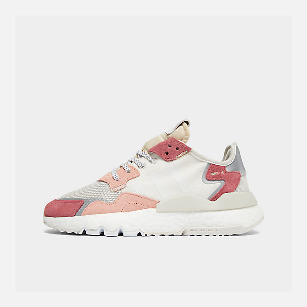 eecbe4624 Right view of Women s adidas Originals Nite Jogger Casual Shoes in  White White Pink