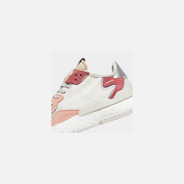 Front view of Women's adidas Originals Nite Jogger Casual Shoes in White/White/Pink
