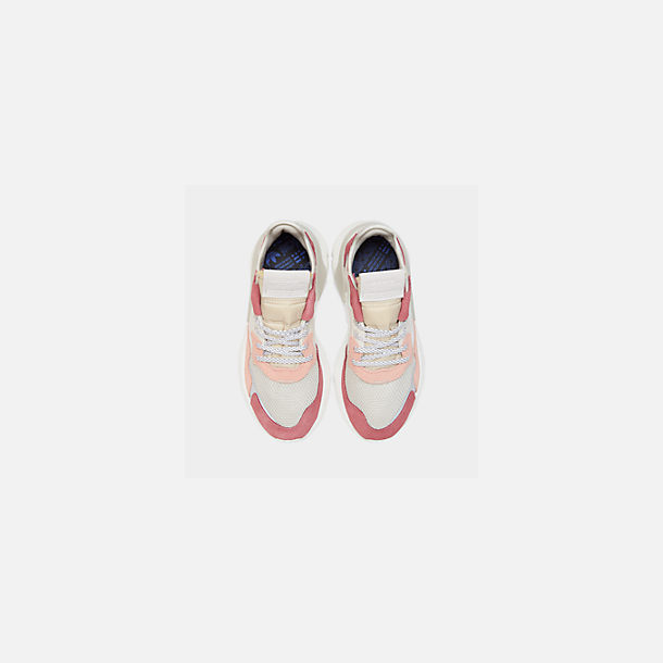 Back view of Women's adidas Originals Nite Jogger Casual Shoes in White/White/Pink
