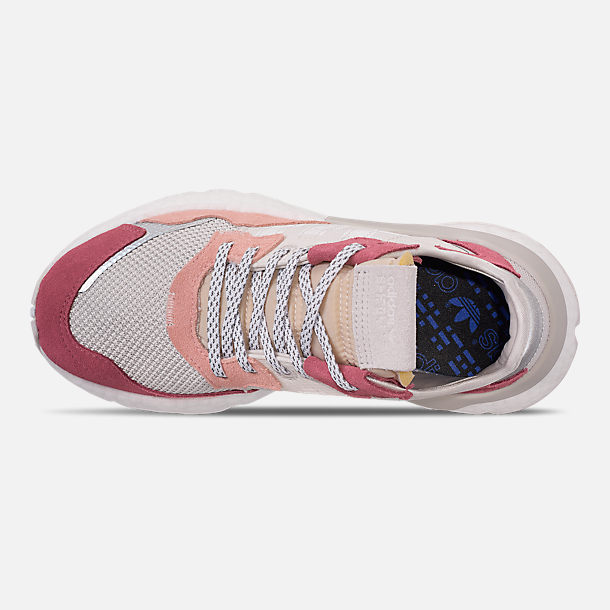 Top view of Women's adidas Originals Nite Jogger Casual Shoes in White/White/Pink