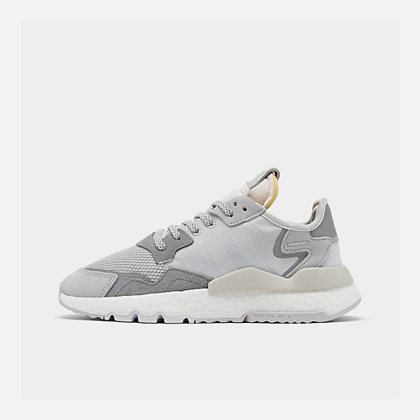 Right view of Women's adidas Originals Nite Jogger Casual Shoes in Grey/White/Grey