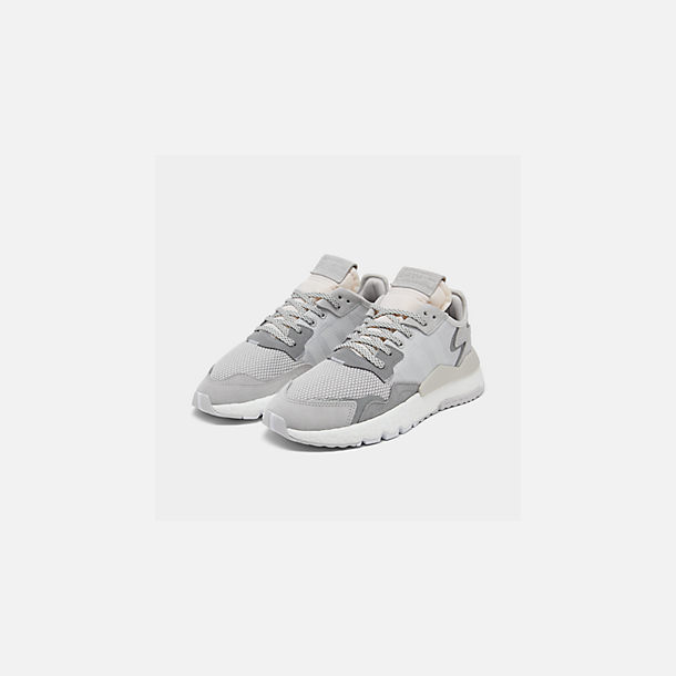 Three Quarter view of Women's adidas Originals Nite Jogger Casual Shoes in Grey/White/Grey