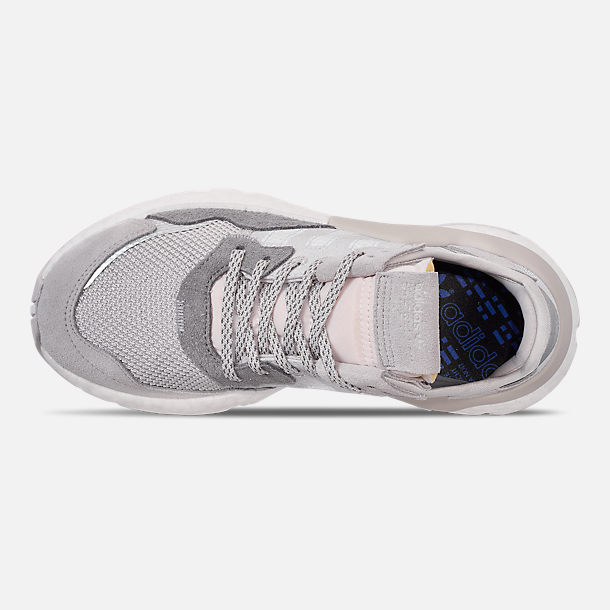 Top view of Women's adidas Originals Nite Jogger Casual Shoes in Grey/White/Grey