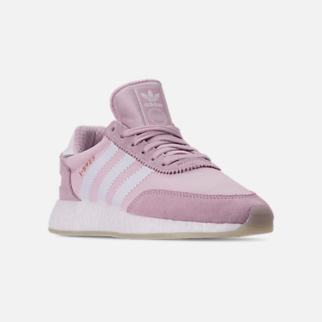 Three Quarter view of Women's adidas I-5923 Runner Casual Shoes in Aero Pink/White