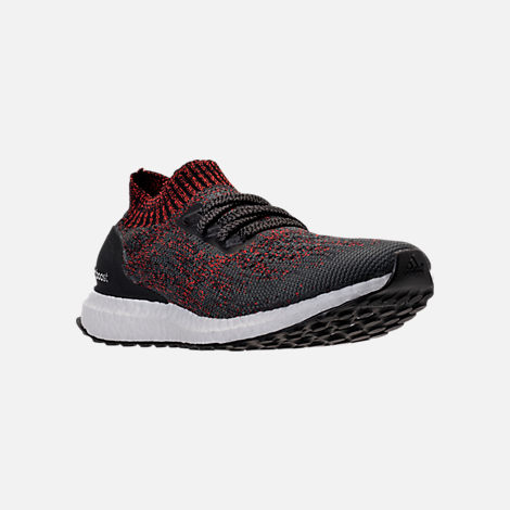 Three Quarter view of Men's adidas UltraBOOST Uncaged Running Shoes in Carbon/Core Black/Footwear White