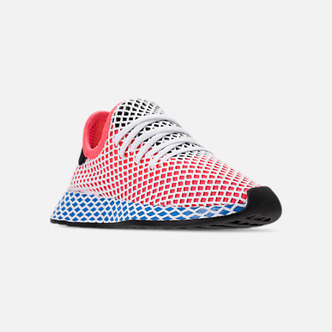 Three Quarter view of Kids' Grade School adidas Originals Deerupt Runner Casual Shoes in Solar Red/Bluebird