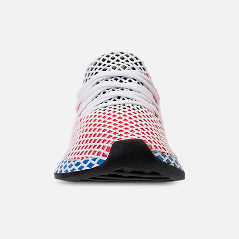Front view of Kids' Grade School adidas Originals Deerupt Runner Casual Shoes in Solar Red/Bluebird