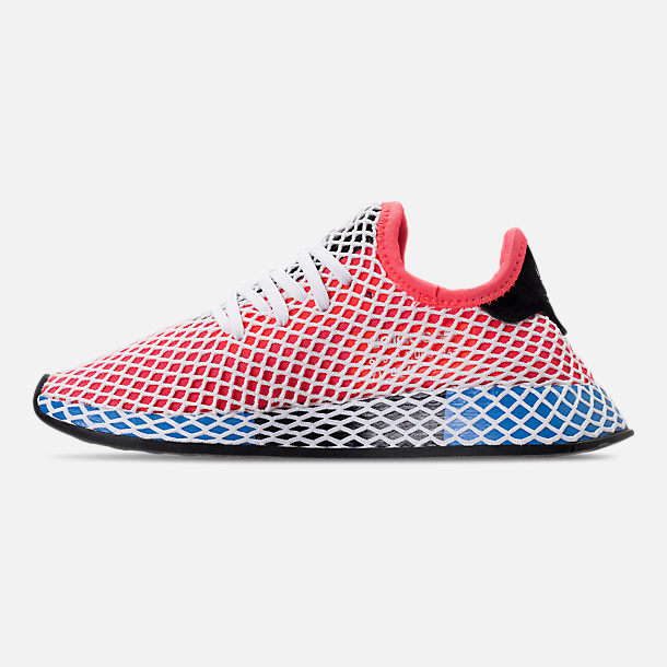 Left view of Kids' Grade School adidas Originals Deerupt Runner Casual Shoes in Solar Red/Bluebird