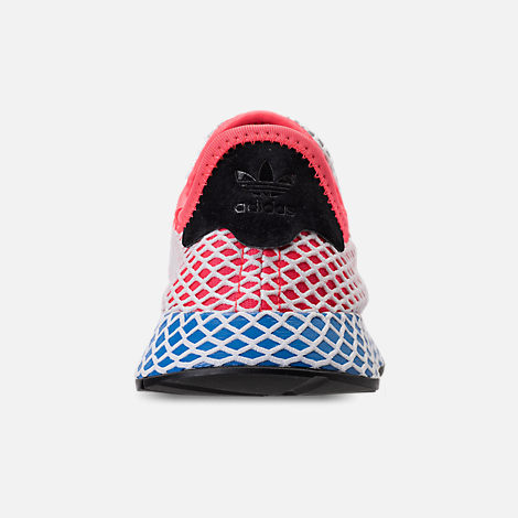 Back view of Kids' Grade School adidas Originals Deerupt Runner Casual Shoes in Solar Red/Bluebird