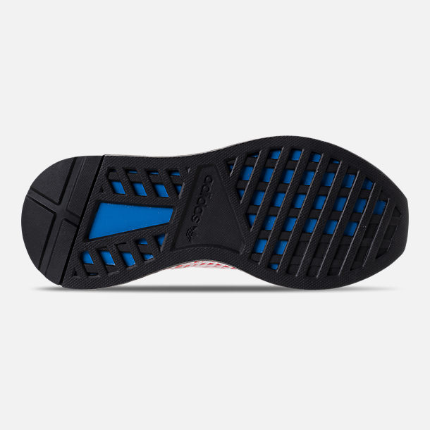 Bottom view of Kids' Grade School adidas Originals Deerupt Runner Casual Shoes in Solar Red/Bluebird