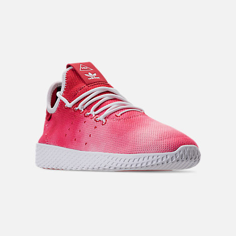 Three Quarter view of Men's adidas Originals Pharrell Williams Tennis HU Casual Shoes in Scarlet/Footwear White