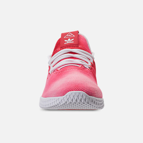 Front view of Men's adidas Originals Pharrell Williams Tennis HU Casual Shoes in Scarlet/Footwear White