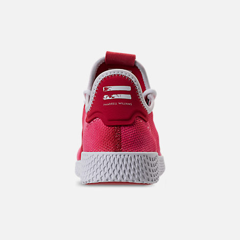Back view of Men's adidas Originals Pharrell Williams Tennis HU Casual Shoes in Scarlet/Footwear White