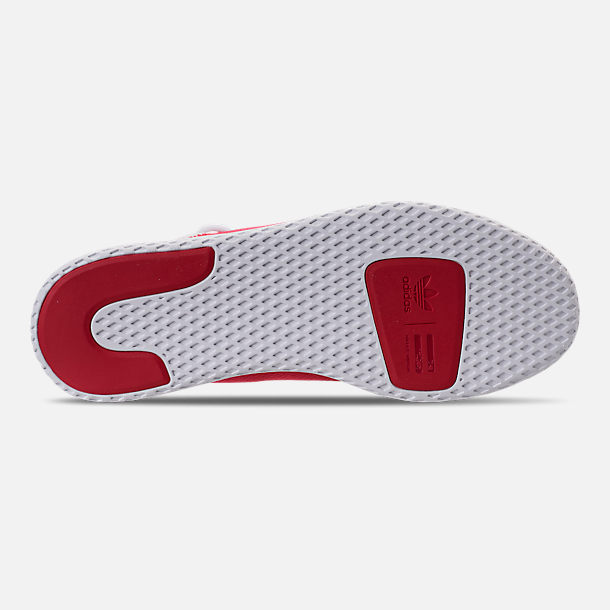 Bottom view of Men's adidas Originals Pharrell Williams Tennis HU Casual Shoes in Scarlet/Footwear White