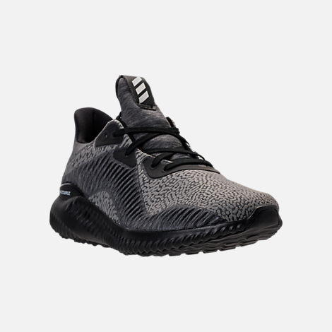 Three Quarter view of Boys' Grade School adidas AlphaBounce HPC Aramis Running Shoes in Black/Black/Black