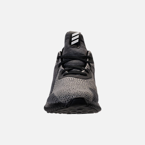 Front view of Boys' Grade School adidas AlphaBounce HPC Aramis Running Shoes in Black/Black/Black