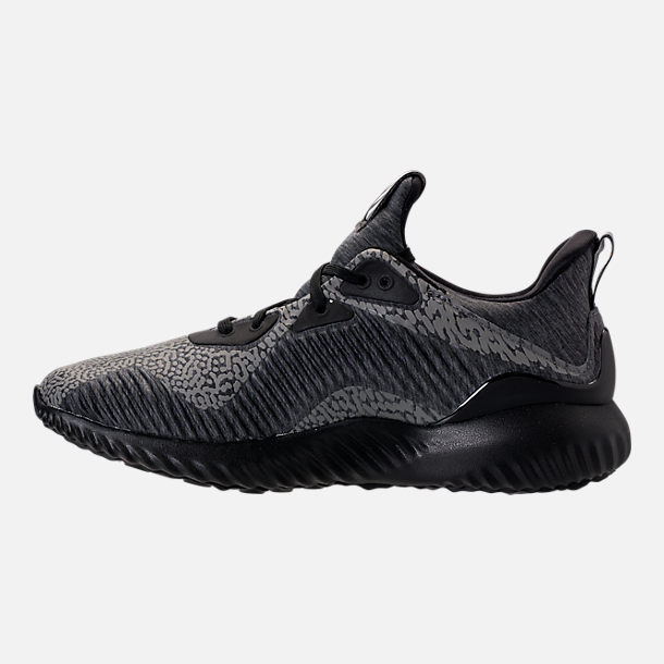 Left view of Boys' Grade School adidas AlphaBounce HPC Aramis Running Shoes in Black/Black/Black