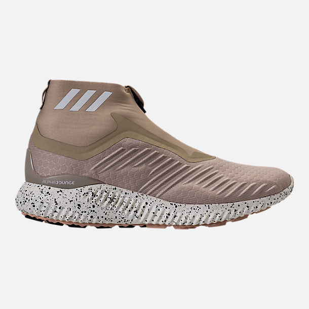 Right view of Men's adidas AlphaBounce Zip Casual Shoes in Lite Brown/Off White/Noble Red