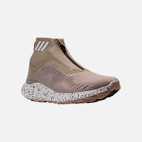 Three Quarter view of Men's adidas AlphaBounce Zip Casual Shoes in Lite Brown/Off White/Noble Red