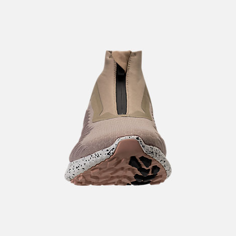 Front view of Men's adidas AlphaBounce Zip Casual Shoes in Lite Brown/Off White/Noble Red
