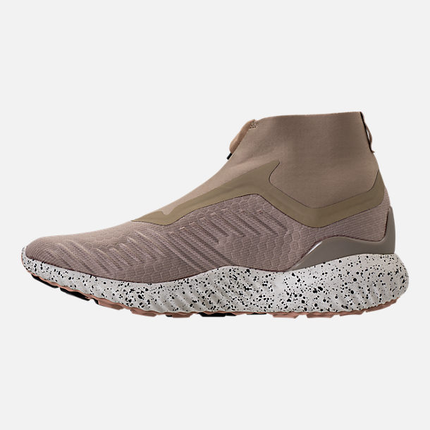 Left view of Men's adidas AlphaBounce Zip Casual Shoes in Lite Brown/Off White/Noble Red