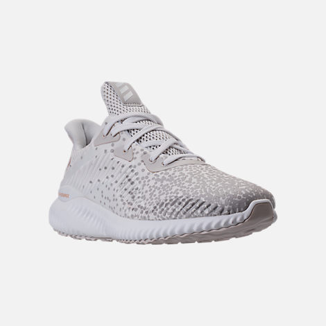 Three Quarter view of Women's adidas AlphaBounce Aramis Running Shoes in White/Grey