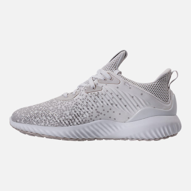 Left view of Women's adidas AlphaBounce Aramis Running Shoes in White/Grey
