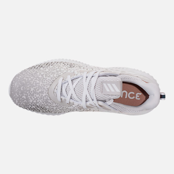 Top view of Women's adidas AlphaBounce Aramis Running Shoes in White/Grey