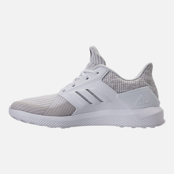 Left view of Boys' Grade School adidas RapidaRun Knit Running Shoes in Grey/White/White