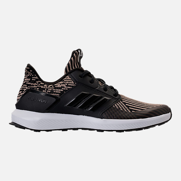 Right view of Boys' Grade School adidas RapidaRun Running Shoes in Core Black/Raw Gold