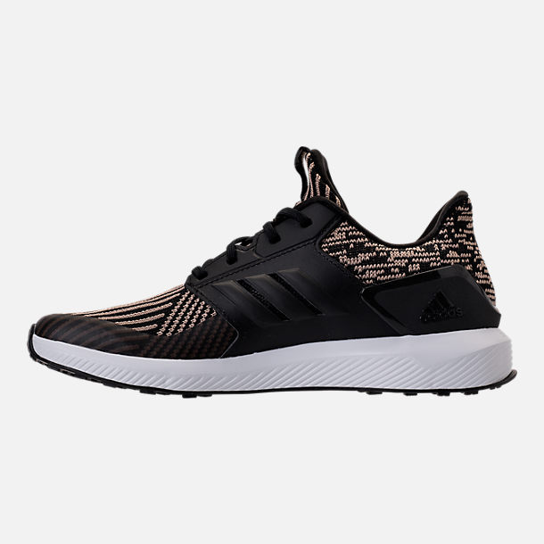 Left view of Boys' Grade School adidas RapidaRun Running Shoes in Core Black/Raw Gold