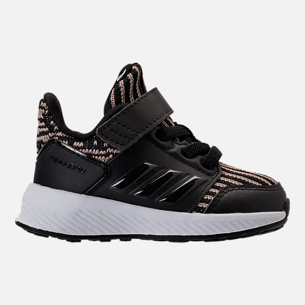 Right view of Boys' Toddler adidas RapidaRun Running Shoes in Black/Gold