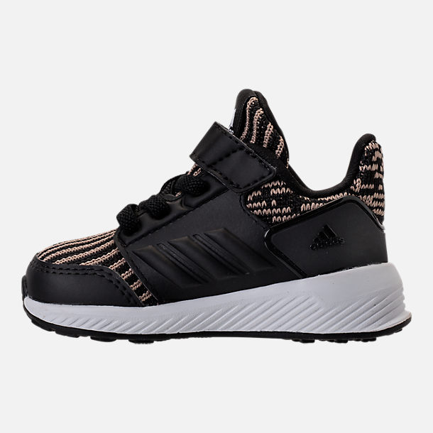 Left view of Boys' Toddler adidas RapidaRun Running Shoes in Black/Gold