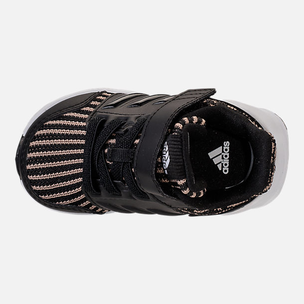 Top view of Boys' Toddler adidas RapidaRun Running Shoes in Black/Gold