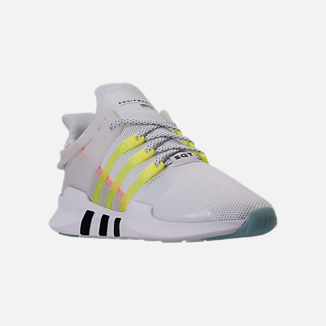 Three Quarter view of Women's adidas EQT Support ADV Casual Shoes in White/Semi Frozen Yellow