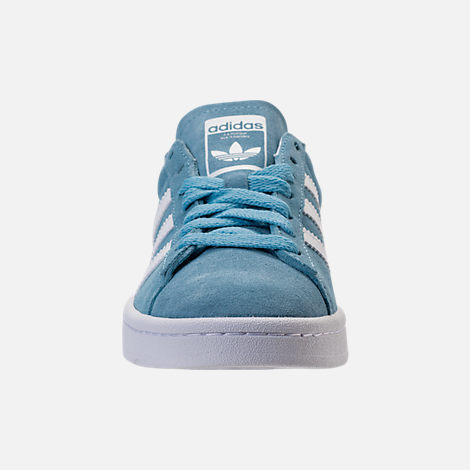 Front view of Men's adidas Originals Campus adicolor Casual Shoes in Ash Blue/Footwear White