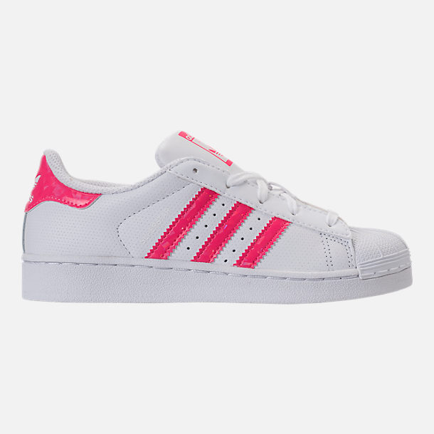 Right view of Girls' Preschool adidas Superstar Casual Shoes in White/Real Pink