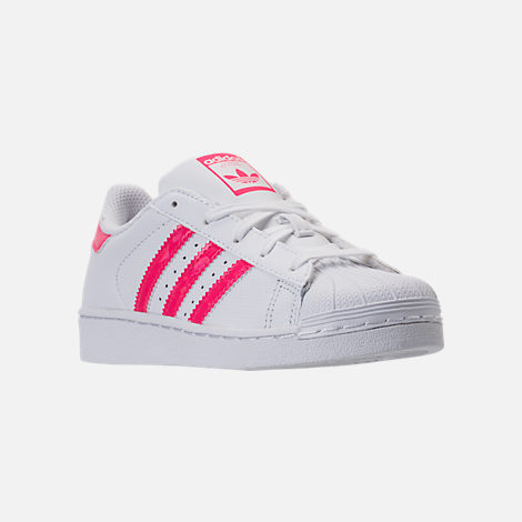 Three Quarter view of Girls' Preschool adidas Superstar Casual Shoes in White/Real Pink