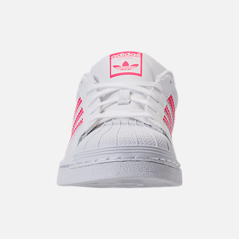 Front view of Girls' Preschool adidas Superstar Casual Shoes in White/Real Pink