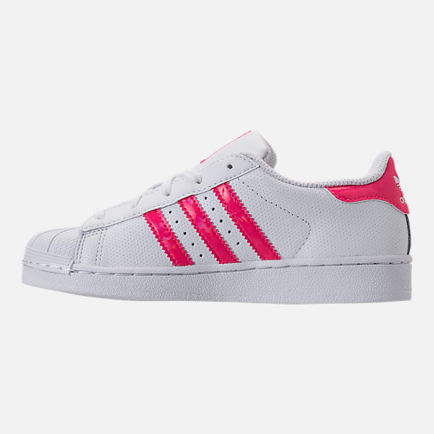 Left view of Girls' Preschool adidas Superstar Casual Shoes in White/Real Pink