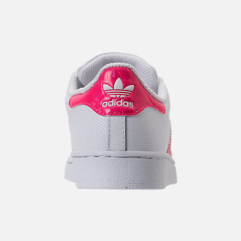 Back view of Girls' Preschool adidas Superstar Casual Shoes in White/Real Pink