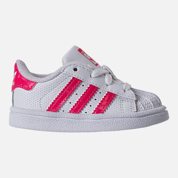 Right view of Girls' Toddler adidas Superstar Casual Shoes in White/Real Pink